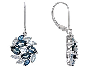 London Blue Topaz Rhodium Over Sterling Silver Earrings 3.64ctw
