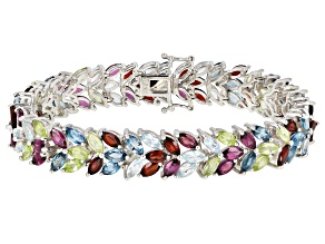 Multi-color gemstone rhodium over silver bracelet 28.09ctw
