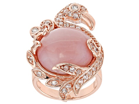 Pink opal 18k rose gold over silver flamingo ring .71ctw