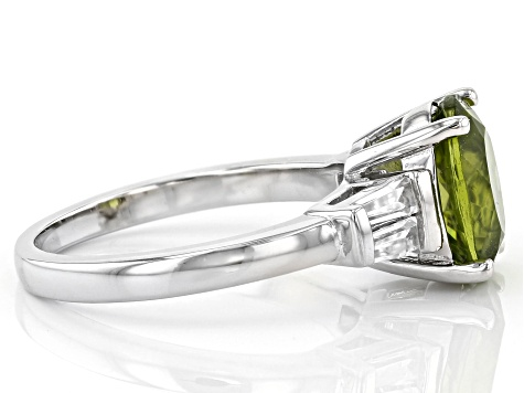 Green peridot rhodium over sterling silver ring 2.80ctw