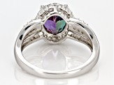 Color change lab created alexandrite rhodium over silver ring 2.14ctw