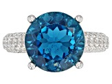London Blue Topaz Rhodium Over Silver Ring 7.51ctw
