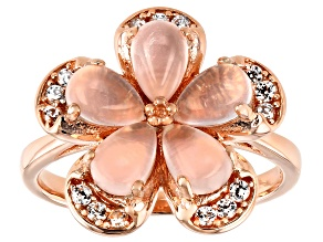 Pink rose quartz 18k rose gold over silver ring .26ctw