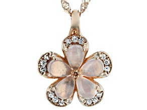 Pink rose quartz 18k gold over silver pendant with chain .26ctw