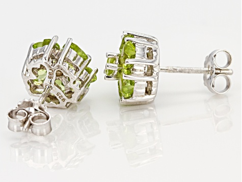 Green peridot rhodium over silver earrings 2.35ctw