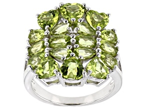 Green Peridot Rhodium Over Sterling Silver Ring 4.77ctw