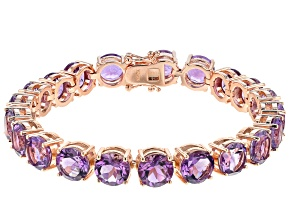 Purple Amethyst 18k Rose Gold Over Silver Bracelet 34.12ctw