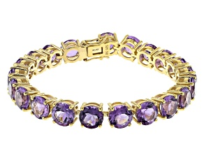 Purple Amethyst 18k Yellow Gold Over Sterling Silver Tennis Bracelet. 34.12ctw