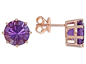 Purple amethyst 18k rose gold over silver earrings 5.10ctw