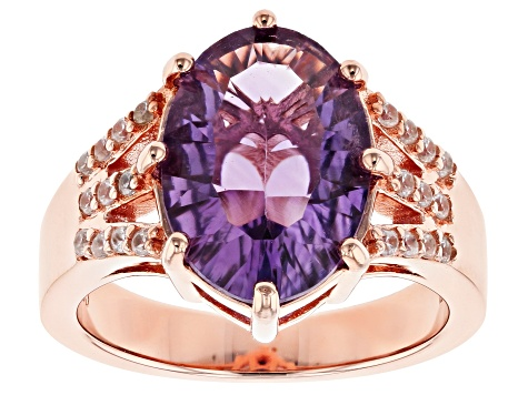 Purple amethyst 18k rose gold over silver ring 4.47ctw