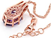 Purple amethyst 18k rose gold over silver pendant with chain 4.20ctw