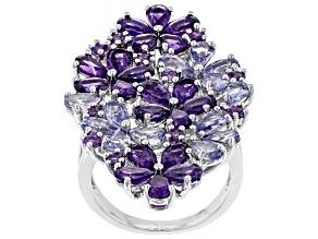Purple amethyst rhodium over silver ring 5.97ctw