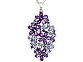 Purple amethyst rhodium over silver pendant with chain 5.97ctw