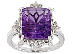 Purple amethyst rhodium over silver ring 5.44ctw
