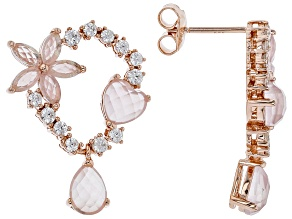 Pink rose quartz 18k rose gold over silver earrings .85ctw