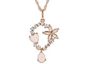 Pink rose quartz 18k rose gold over silver pendant with chain .42ctw
