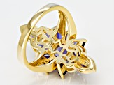 Blue iolite 18k gold over silver ring 2.40ctw