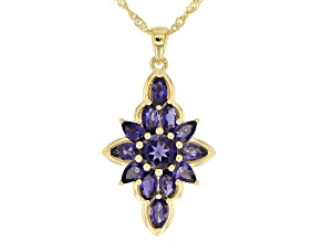 Blue iolite 18k gold over silver pendant with chain 2.40ctw