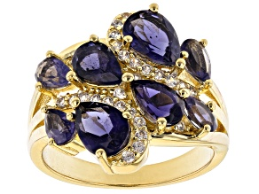 Blue iolite 18k gold over silver ring 2.38ctw