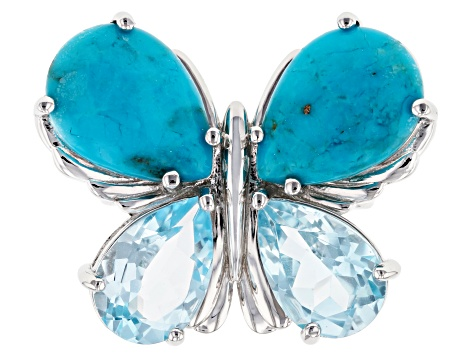 Blue turquoise rhodium over silver butterfly ring 6.29ctw