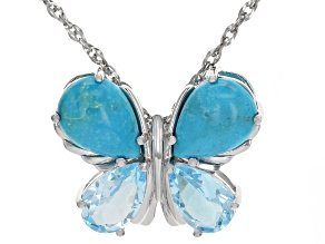 Blue turquoise rhodium over silver pendant with chain 6.29ctw