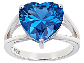 Blue lab created spinel rhodium over silver ring 5.14ct