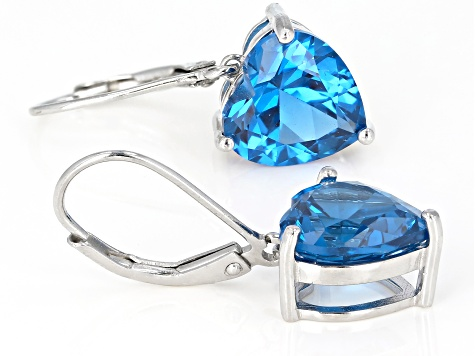 Blue lab created spinel rhodium over silver earrings 6.55ctw