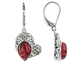 Red Thulite Rhodium Over Sterling Silver Earrings