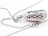 Red Thulite Rhodium Over Silver pendant with chain
