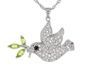 White topaz rhodium over silver dove pendant with chain 2.03ctw