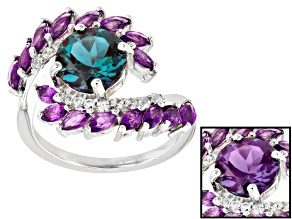 Blue lab created alexandrite rhodium over silver ring 3.22ctw