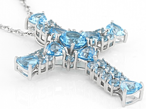 Blue topaz rhodium over silver pendant with chain 11.22ctw