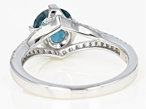 Blue chromium kyanite rhodium over silver ring 1.57ctw