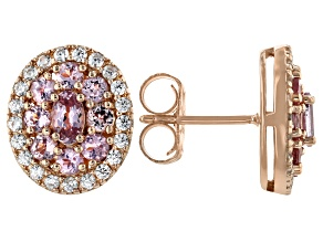 Pink color shift garnet 18k rose gold over silver earrings 2.31ctw