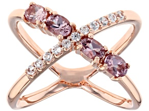 Pink Color change garnet 18k rose gold over silver ring .87ctw