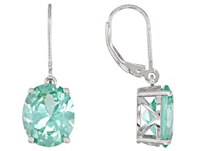 Green lab spinel rhodium over silver earrings 8.73ctw