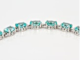 Green lab spinel rhodium over silver bracelet 19.80ctw