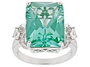 Green lab created spinel rhodium over silver ring 11.30ctw