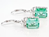 Green Lab Created Spinel Rhodium Over Silver Earrings 10.73ctw