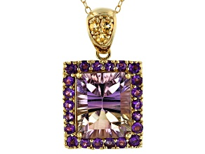 Bi-color ametrine 18k gold over silver pendant with chain 5.28ctw