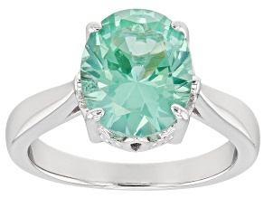 Green lab spinel rhodium over silver ring 3.42ct