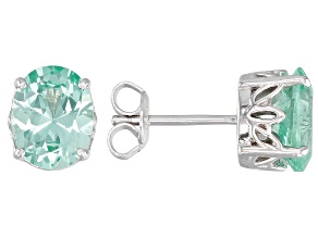 Green lab spinel rhodium over silver stud earrings 3.53ctw