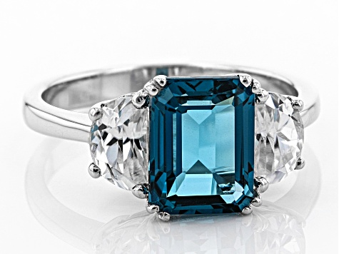 London blue topaz rhodium over silver ring 3.74ctw