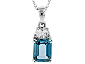 London blue topaz rhodium over silver pendant with chain 3.14ctw