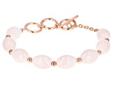 Pink rose quartz 18k rose gold over silver bracelet