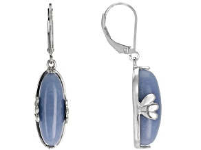 Blue angelite rhodium over sterling silver dangle earrings