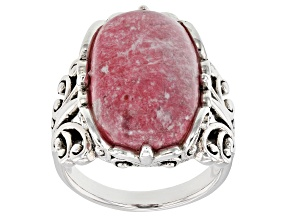 Pink thulite rhodium over silver ring