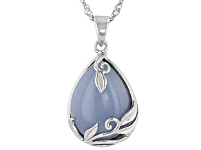 Blue angelite rhodium over sterling silver pendant with chain