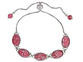 Pink Thulite Rhodium Over Silver Bolo Bracelet