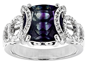 Blue Color Change Fluorite Rhodium Over Sterling Silver Ring 4.70ctw
